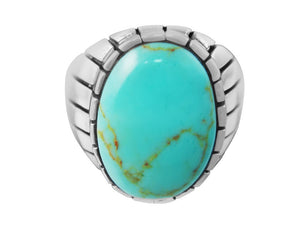 925 Sterling Silver Mens Oval Genuine Turquoise Stone Engraved Sides Solid Ring