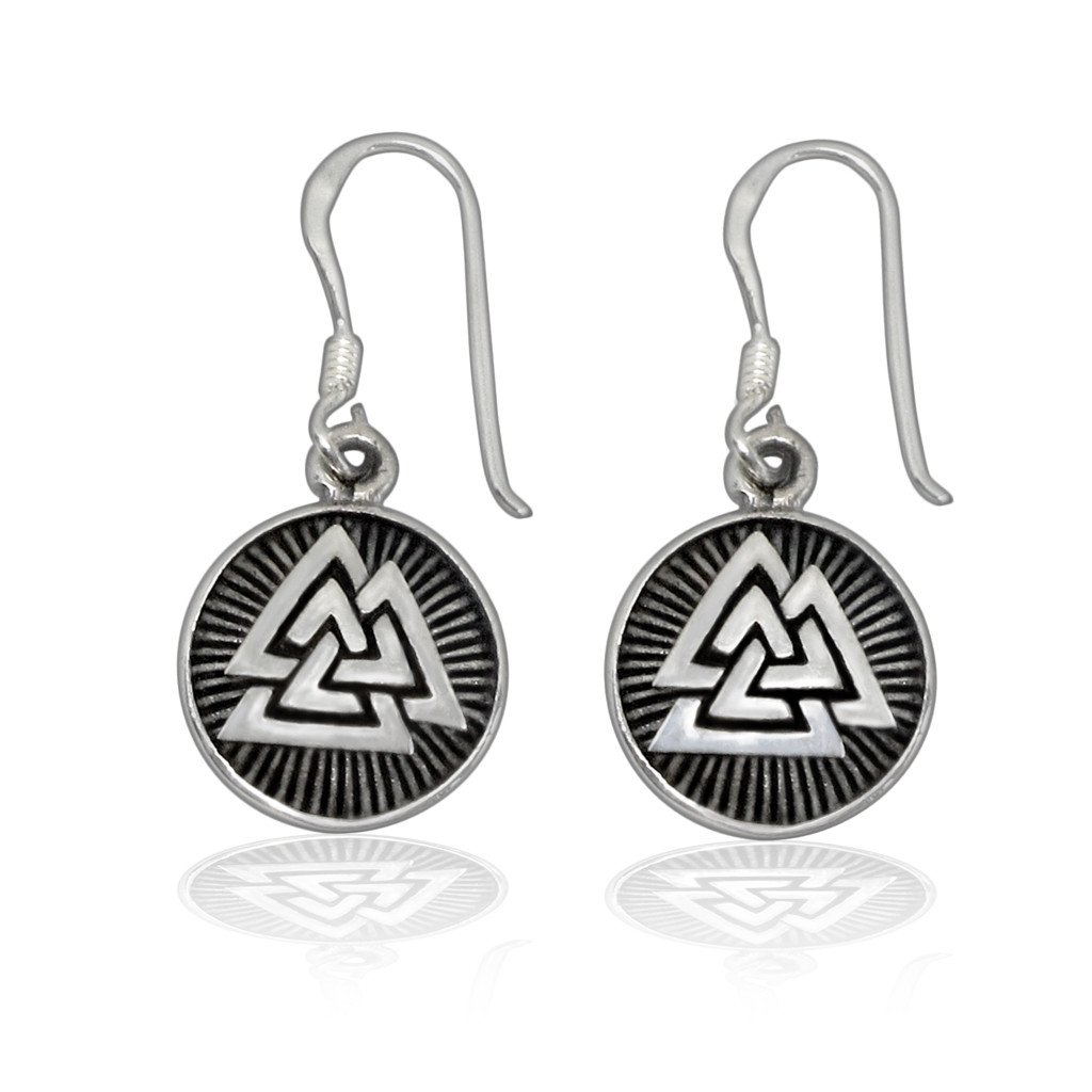925 Sterling Silver Valknut Odin Viking Norse Runes Runic Dangle Earrings Set - SilverMania925