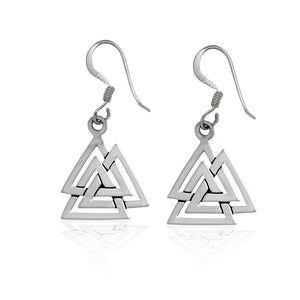 925 Sterling Silver Valknut Viking Knot Norse Runes Odin Dangle Earrings Set - SilverMania925
