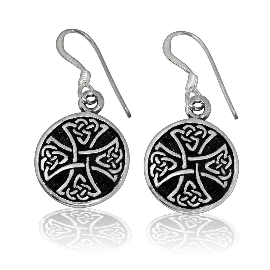 925 Sterling Silver Celtic Irish Knot Knights Templar Iron Cross Dangle Earrings Set - SilverMania925