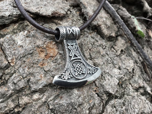 925 Sterling Silver Viking Knotwork Axe Double Sided Amulet - SilverMania925