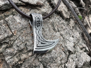925 Sterling Silver Viking Perun Axe Double Sided Pendant - SilverMania925