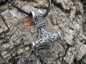 925 Sterling Silver Viking Knotwork Mjolnir Legendary Pendant - SilverMania925