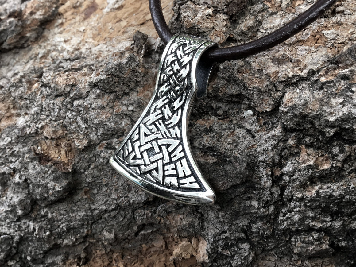 925 Sterling Silver Viking Knotwork Perun Axe Double Sided Pendant - SilverMania925