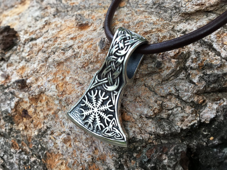 925 Sterling Silver Helm of Awe Viking Axe Pendant - SilverMania925