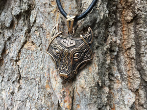 Viking Wolf Head Fenrir Bronze Handcrafted Pendant