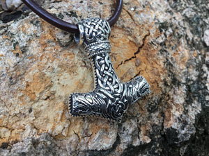 925 Sterling Silver Viking Knotwork Mjolnir Pendant with Jormungand Motifs - SilverMania925
