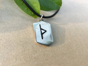 Sterling Silver Viking Thurs Rune Antique Finish Pendant