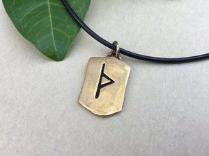 Handcrafted Bronze Viking Thurs Rune Antique Finish Pendant