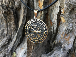 Viking Vegvisir with Runes Bronze Handcrafted Pendant