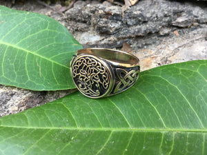 Viking Yggdrasil Bronze Ring with Knotwork