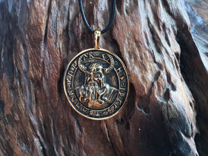 Handcrafted Bronze Viking Warrior with Runes Amulet