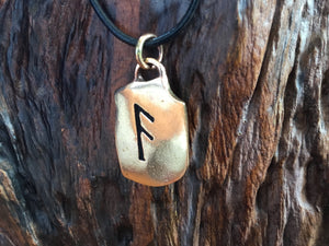 Handcrafted Bronze Viking Ansuz Rune Antique Finish Pendant