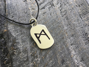 Sterling Silver Viking Rune Mannaz Antique Finish Pendant