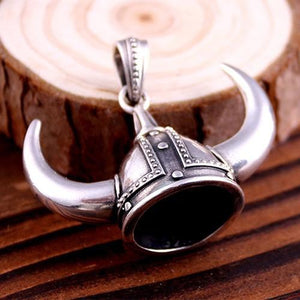 925 Sterling Silver Viking Helmet Norse Horned Horn Odin Amulet Big Pendant - SilverMania925