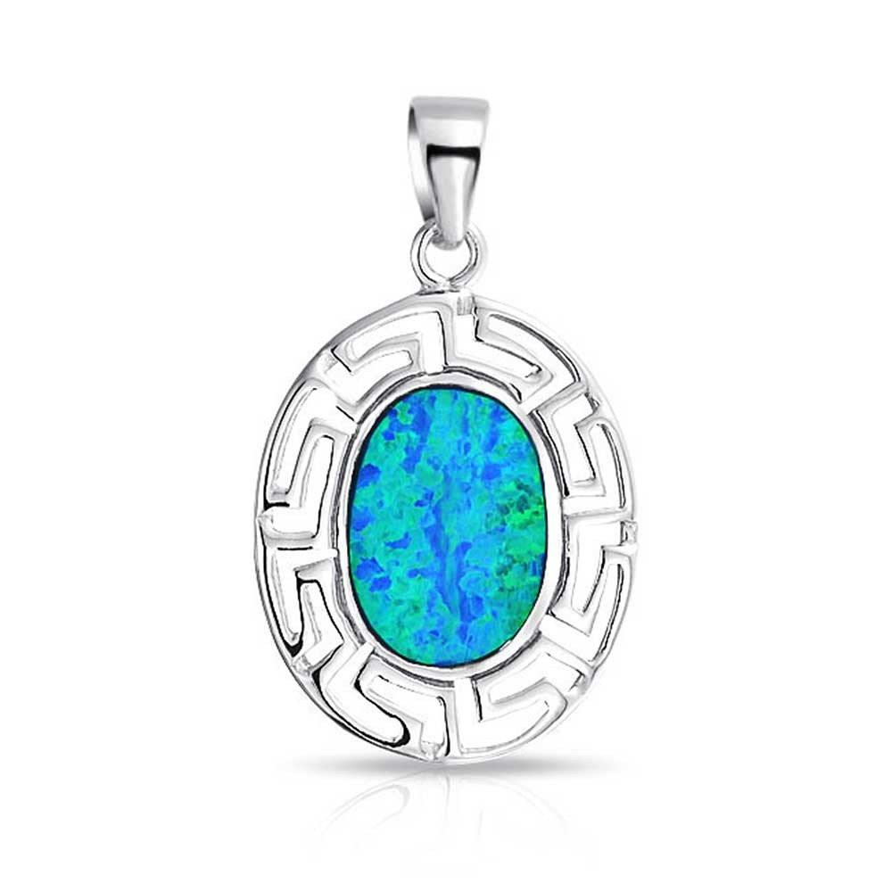 925 Sterling Silver Hawaiian Blue Fire Inlay Oval Opal Greek Key Meander Meandros Pendant - SilverMania925