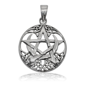 925 Sterling Silver Celtic Pagan Pentagram Crescent Moon Round Charm Pendant