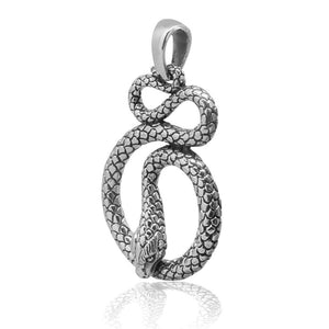 925 Sterling Silver Detailed Cobra Snake Infinity Serpent Pendant