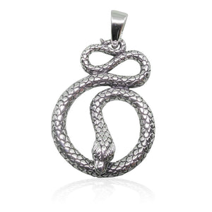 925 Sterling Silver Detailed Cobra Snake Infinity Serpent Pendant - SilverMania925