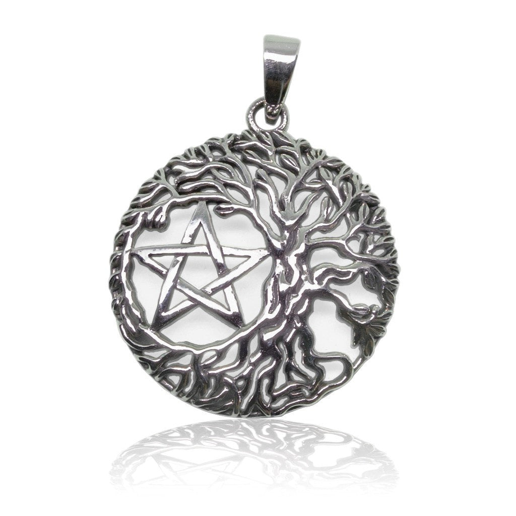 925 Sterling Silver Yggdrasil Tree Of Life Wiccan Pentagram Pentacle Pendant