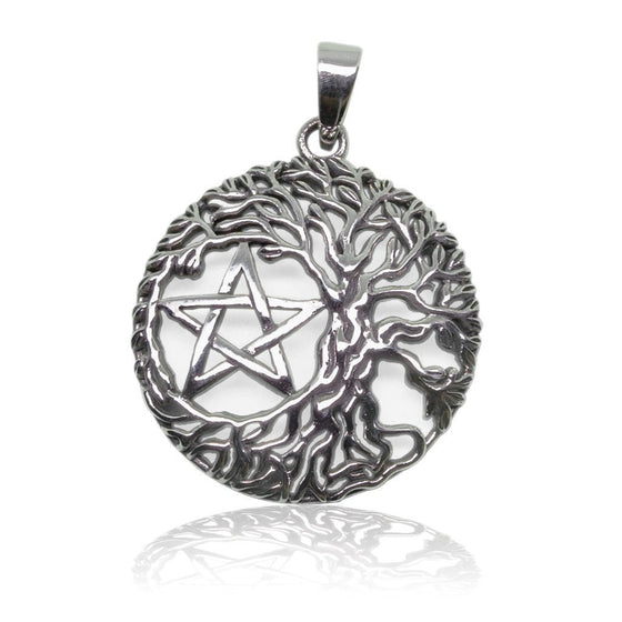 925 Sterling Silver Tree Of Life Wiccan Pentagram Pentacle Charm Pendant