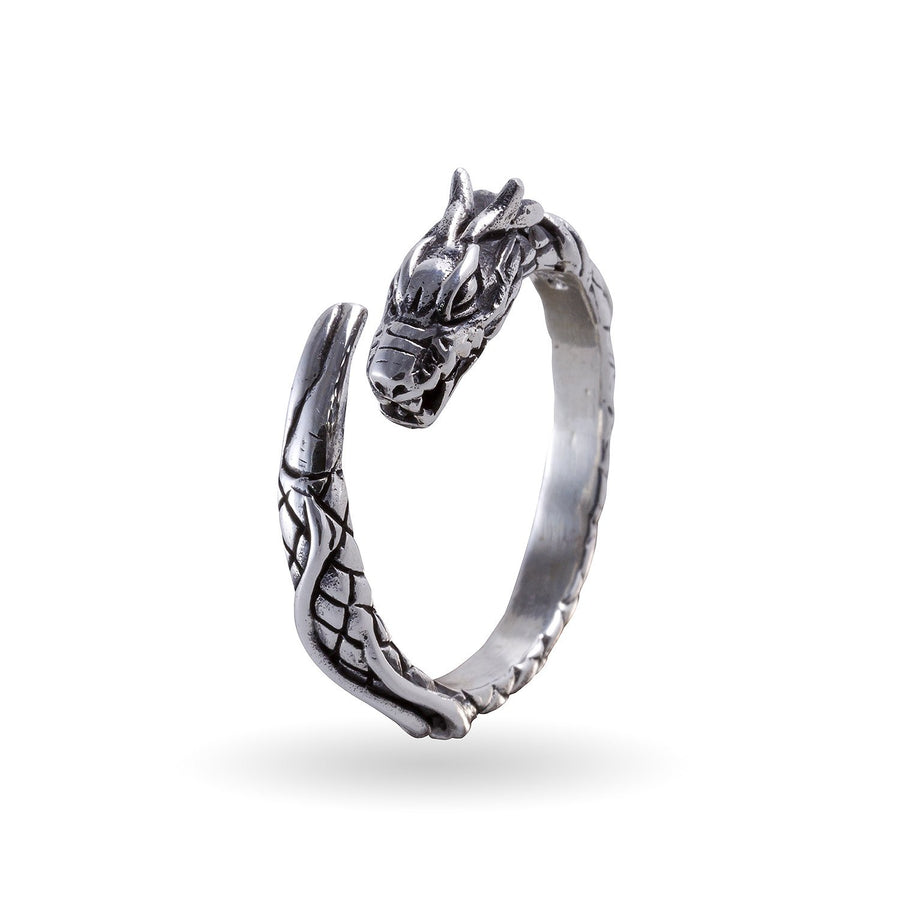 925 Sterling Silver Viking Jormungand Midgard Serpent Snake Dragon Ring - SilverMania925