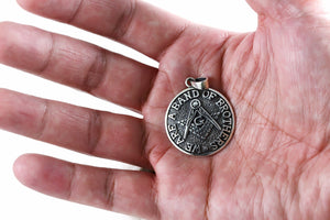 925 Sterling Silver Masonic Freemason Compass We Are a Band of Brothers Coin Pendant