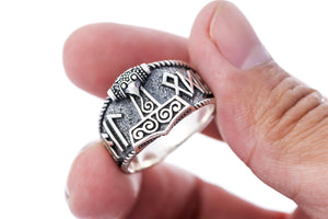 Sterling Silver Viking Thor Hammer with Hail Odin Script Ring