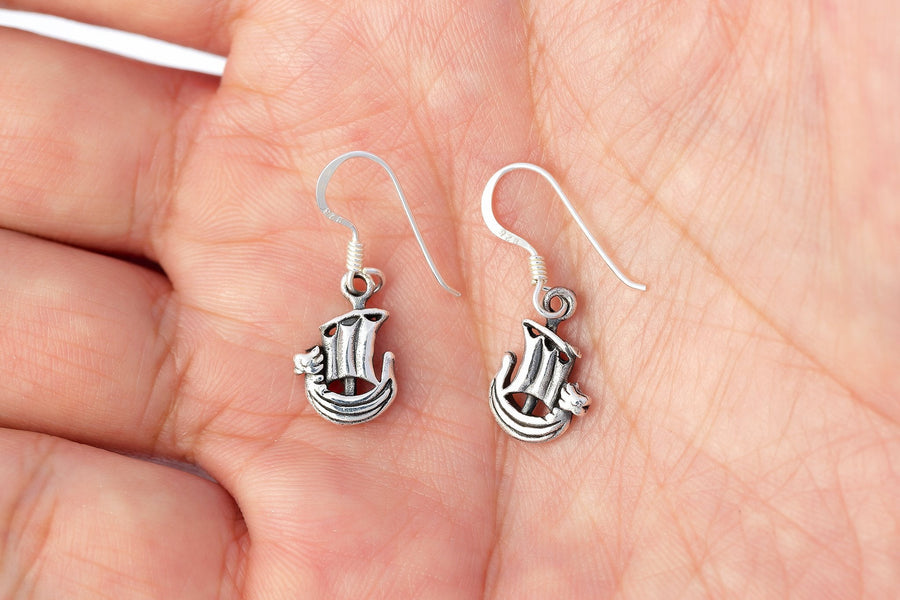 925 Sterling Silver Viking Norse Boat Dangle Earrings - SilverMania925