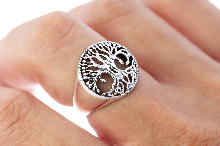 925 Sterling Silver Viking Tree of Life Norse Yggdrasil Pagan Jewelry Ring