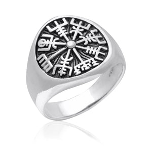 925 Sterling Silver Vegvisir Viking Magical Staves Compass Ring - SilverMania925
