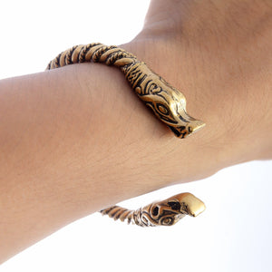 Handcrafted Bronze Viking Wolf Jormungand Norse Spiral Twisted Bangle Bracelet