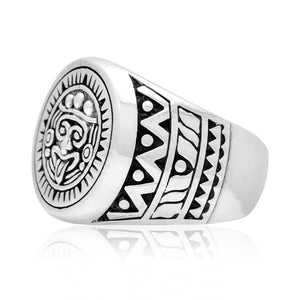 925 Sterling Silver Aztec Mayan Style Ring