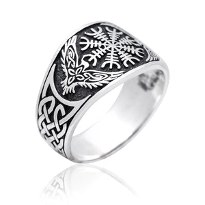 925 Sterling Silver Viking Raven Aegishjalmur Helm of Awe Celtic Knotwork Ring