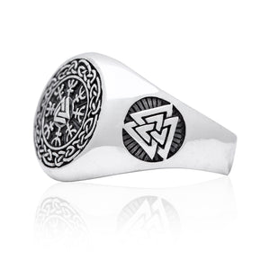 925 Sterling Silver Valknut Viking Helm of Awe Aegishjalmur Ring