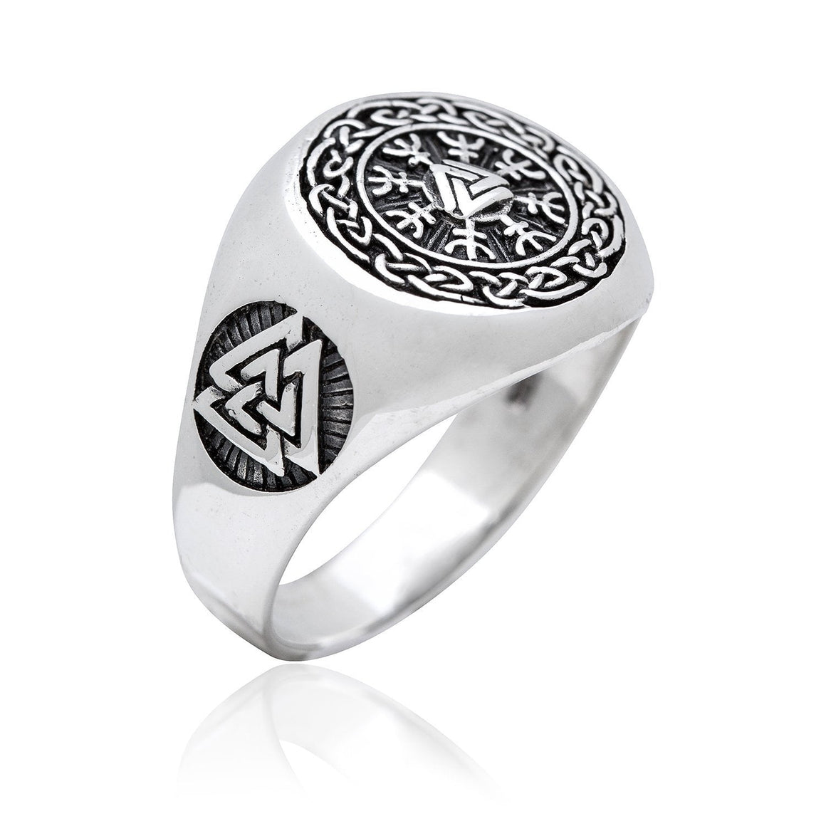 925 Sterling Silver Valknut Viking Helm of Awe Aegishjalmur Ring - SilverMania925
