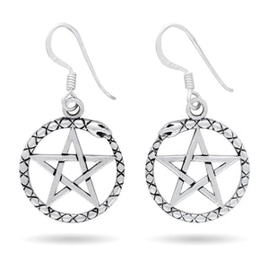 925 Sterling Silver Ouroboros Serpent Dragon Jormungand Pentagram Earrings Set