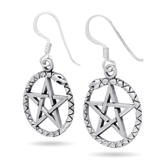 925 Sterling Silver Ouroboros Serpent Dragon Jormungand Pentagram Earrings
