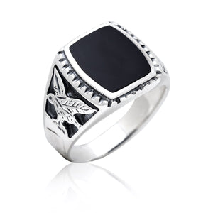 925 Sterling Silver Mens German Eagle Black Onyx Ring - SilverMania925