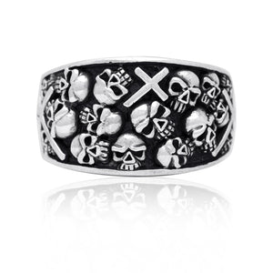 925 Sterling Silver Handcrafted Skulls Cross Gothic Biker Ring - SilverMania925