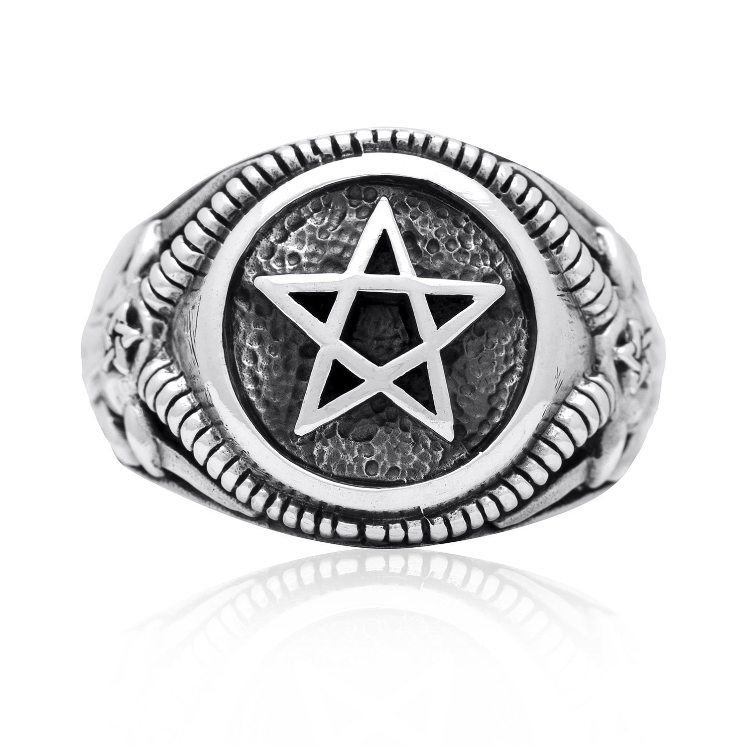 925 Sterling Silver Inverted Pentagram Goat of Mendes Satanic Ring
