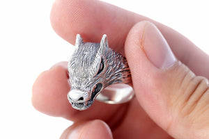 925 Sterling Silver Viking Legendary Wolf Ring - SilverMania925
