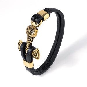 Gold Plated Stainless Steel Viking Mjolnir Black Leather Bracelet