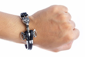 Stainless Steel Viking Mjolnir Black Leather Bracelet with Wolf