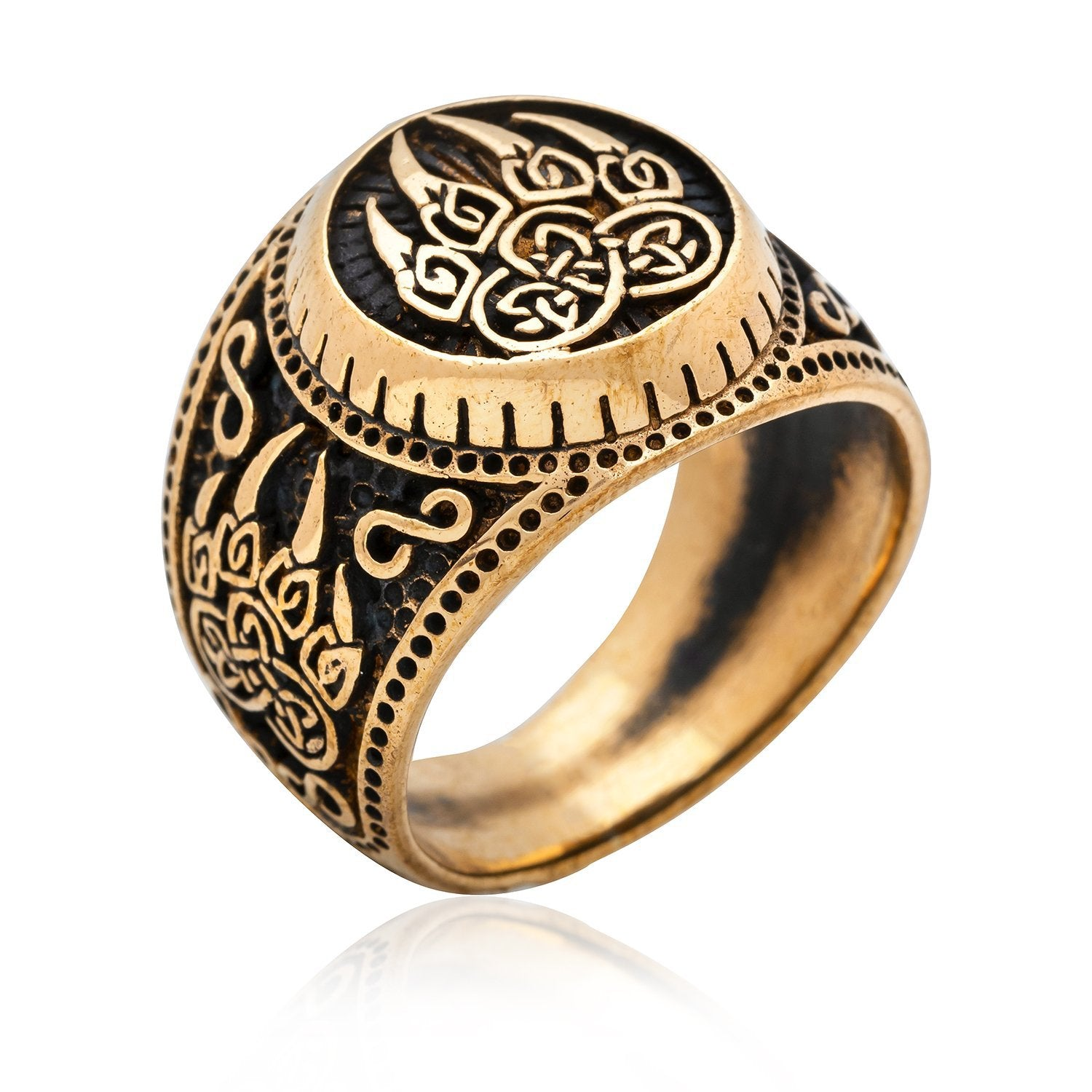 Viking Bear Claw Signet Ring Handcrafted from Bronze