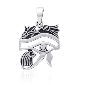 925 Sterling Silver Egyptian Eye of Horus Protection High Polish Pendant