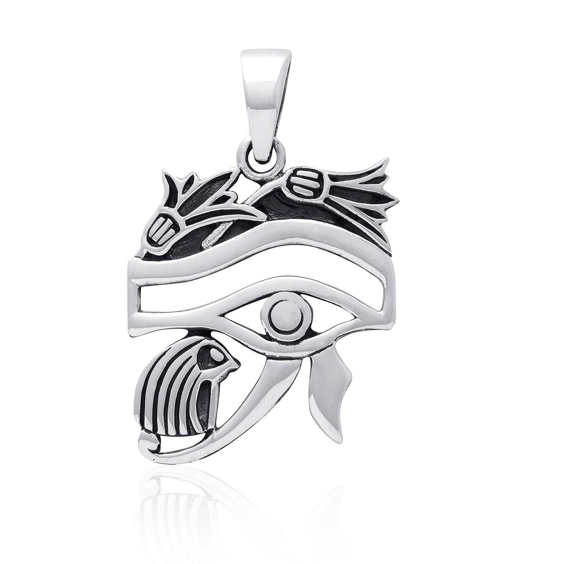 925 Sterling Silver Egyptian Eye of Horus Protection High Polish Pendant - SilverMania925