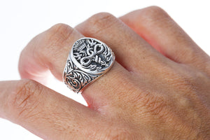 925 Sterling Silver Caduceus Medical Symbol Snake Signet Ring - SilverMania925