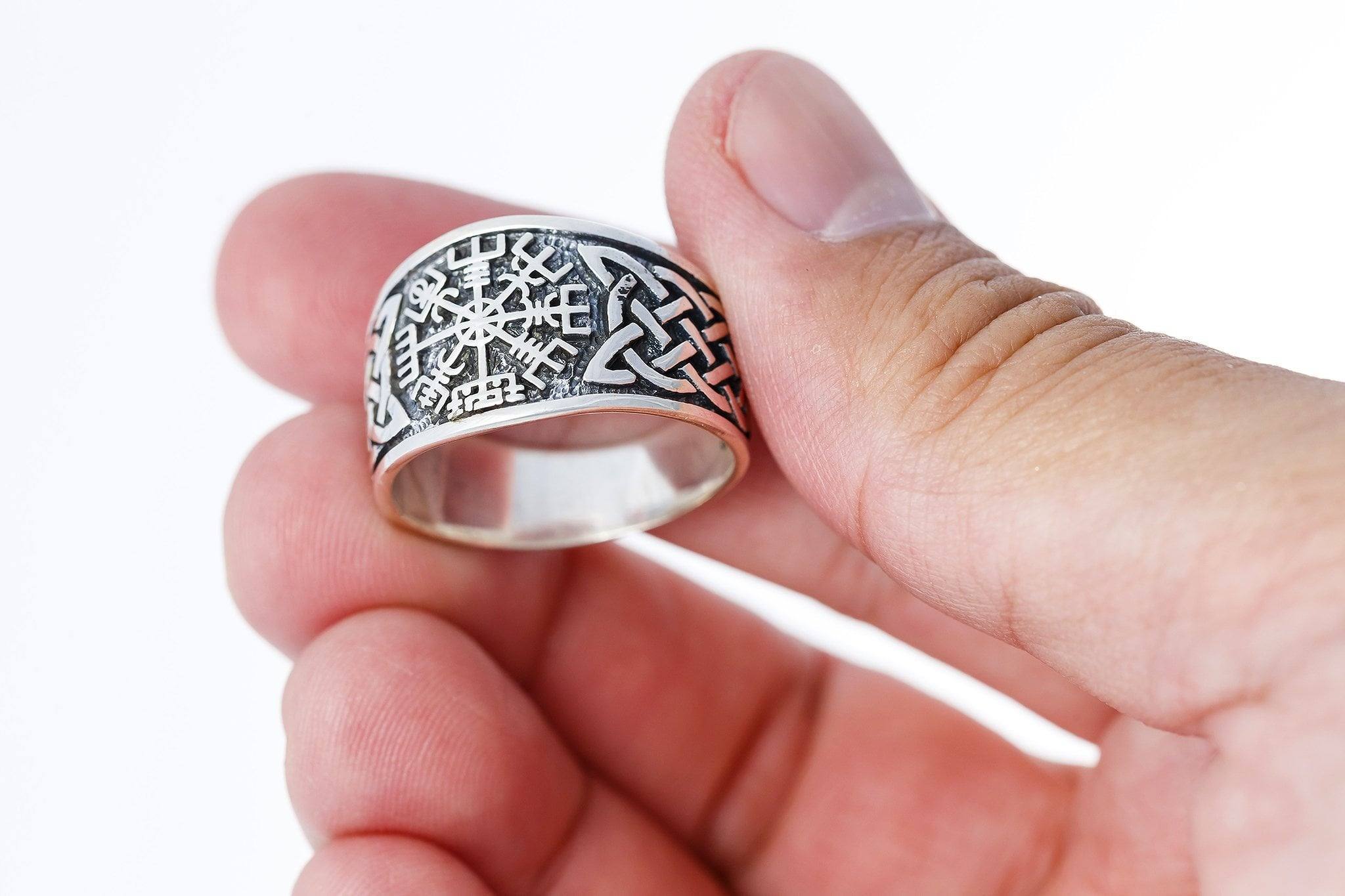 925 Sterling Silver Viking Vegvisir Norse Compass Knotwork Ring ...