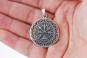 925 Sterling Silver Vegvisir Compass Celtic Infinity Knots Pendant - SilverMania925